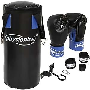 Physionics® Kit de boxeo (saco, soporte, guantes y vendas de boxeo)