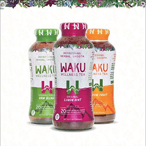 Waku Herbal Tea, Classic Variety Pack, Directly Brewed from Superherbs and Flowers, 10 Fluid Ounce Bottles, 12 count, 4 each of Original Lemon Hint, Unsweetened Raw Blend, Passion (10 Ounce Each Pack)