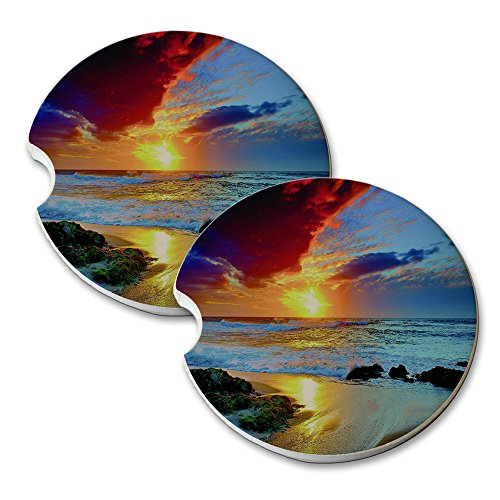 Elements of Space Beach Sunsets - Car Cup Holder Natural Stone Drink Coaster Set