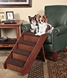 PetSafe Solvit PupSTEP Wood Pet Stairs, Large, Foldable Steps for Dogs and Cats, Best for Small to Medium Pets