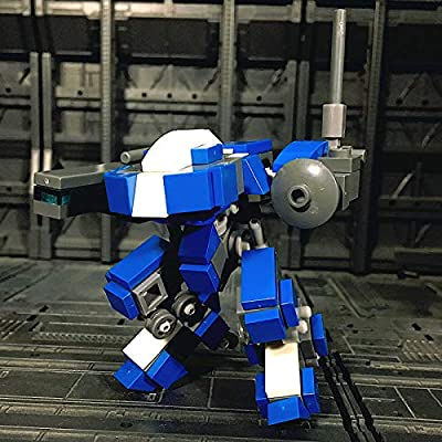 ECLENYES 125Pcs STEM MOC RE Two-Legged Mecha Type 1 Model Small Particle Building Blocks Educational Toy Set(The Product is not Made and Sold by Lego and has no Connection with Lego) - Blue White: Home & Kitchen