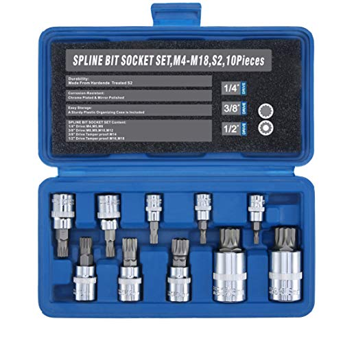 Bit Square Triple 3/8 Drive - Renekton Triple Square Spline Bit Socket Set XZN,Tamper Proof,1/2