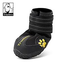 "Colorfulpets Waterproof Pet Boots for Medium to Large Dogs Labrador Husky Shoes 4 Pcs (Black, 6 (2.9""x2.5""))"