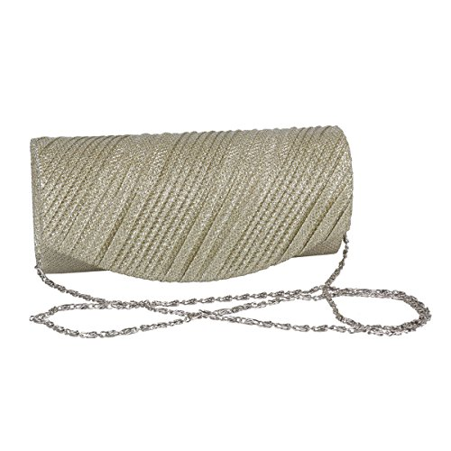 body Women Silver Pleated Glitter PU Flap Damara Bag Cross Party 0OAqwOxC