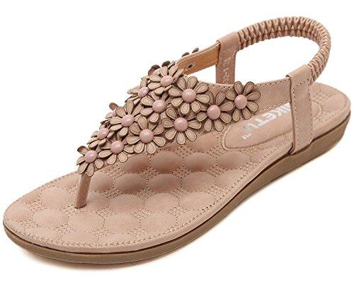Rose Style Sandales de Nouveau Plates Fortuning's Conception Douce JDS® Fleur FqE6wv4z