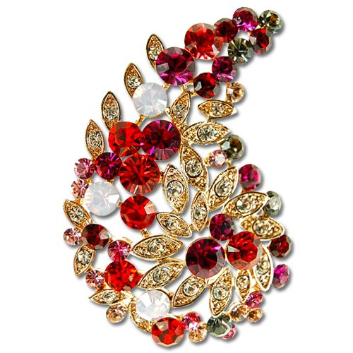 Swarovski Crystal Paisley Brooch, Indian Maharaja Style Crystal Pin - Fuchsia, Janeo Jewels - Indian Maharaja Costumes