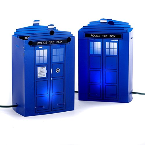 Amber Lantern Stakes (Set of 5 Flickering Light Doctor Who Police Telephone Luminary Pathway Markers)