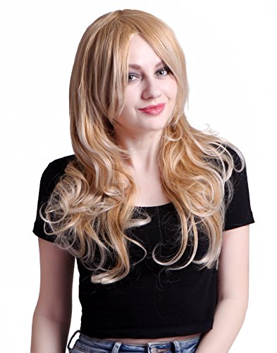 HDE Womens Long Wavy Wig Curly Glamour Hair Style for Halloween Cosplay Costumes (Dirty Blonde)