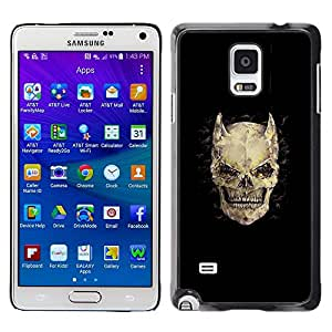 LECELL--Funda protectora / Cubierta / Piel For Samsung Galaxy Note 4 SM-N910 -- Horns Bones Skull Devil Horror Death --