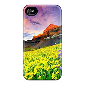 Excellent Design Floral Field In The Foot Of The Mountain Phone Case For Iphone 4/4s Premium Tpu Case