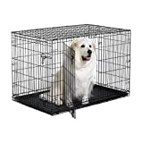 "New World 48"" Double Door Folding Metal Dog Crate, Includes Leak-Proof Plastic Tray; Dog Crate Measures 48L x 30W x 33H Inches, Fits XL Dog Breeds"
