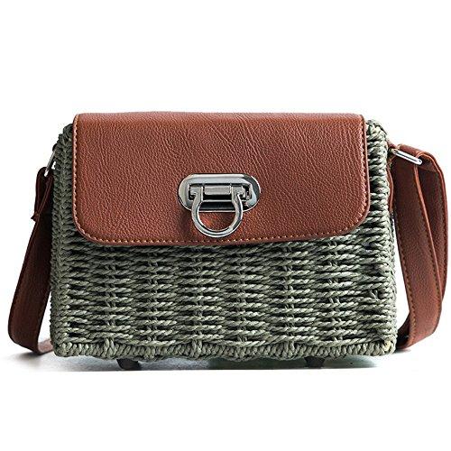 Meaeo Ancha Moda Bag Banda Cruz Paquete Beach Brown Bag Green Oblicua Straw rxf1Swar6q
