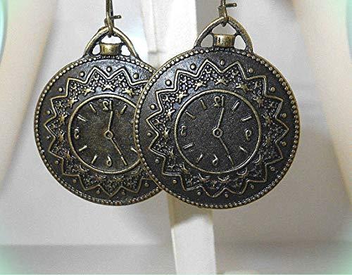 (Ornate CLOCK/Pocket WATCH design Bronze-tone Dangle Earrings 2-1/4