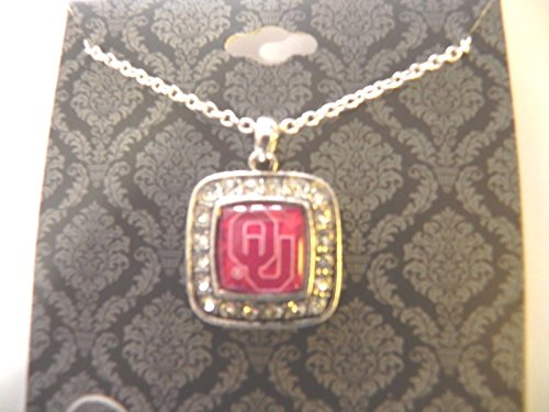 Officially Licensed University of Oklahoma Boomer Sooner OU Square Crystal Studded Pendant Necklace