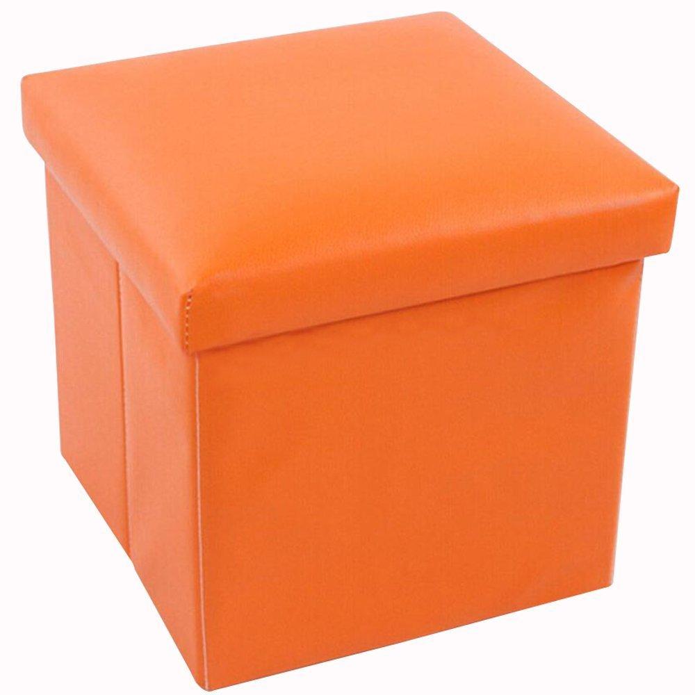sunraise leather folding storage ottoman cube footrest seat  x  - sunraise leather folding storage ottoman cube footrest seat  x  x cm (orange) amazoncouk kitchen  home