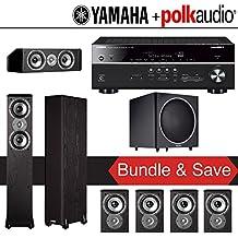 Polk Audio TSi 300 7.1-Ch Home Theater Speaker System with Yamaha RX-V681BL 7.2-Ch Network AV Receiver