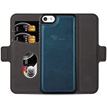 E-Tree iPhone 5/5S/SE Leather Wallet Case with Detachable, RFID Blocking, Flip Magnetic Folio Card Slot Kickstand Case Cover for Apple iPhone 5/5S/SE (4.0 inch) - Blue