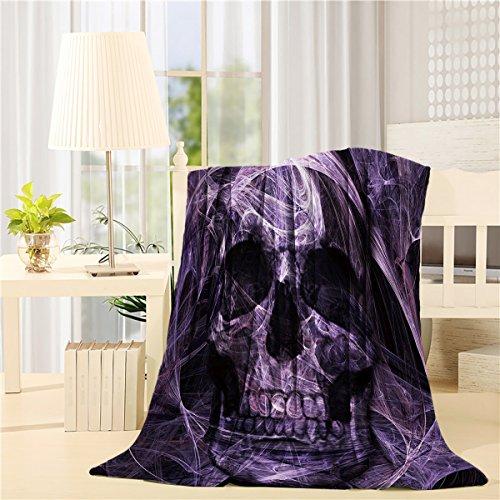 Flannel Fleece Bed Blanket 40 x 50 inch Throw Blanket Lightweight Cozy Plush Blanket for Bedroom Living Rooms Sofa Couch - Abstract Mystic Purple Skull