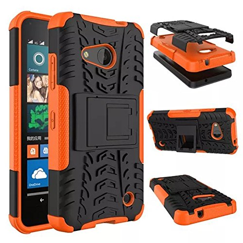 Nokia Lumia 550 Funda - Litastore TPU + PC Heavy Duty Antichoc Impact Robuste Armure Hybride Béquille sac Protecteur Housse pour Nokia Lumia 550 - Rojo Naranja