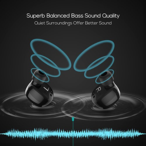 Bluetooth Headphones LECHGO True Stereo Wireless Earbuds Balanced Bass Bluetooth Headset Sweatproof Bluetooth V4.2 Earphones with Portable Charger Built-in Mic for iPhone, Samsung, Tablets, Laptop
