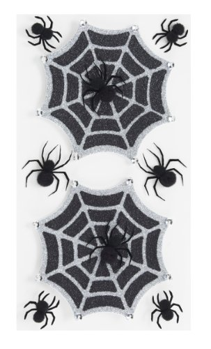 Jolee's Boutique Parcel Dimensional Stickers, Glitter Halloween Spiderwebs
