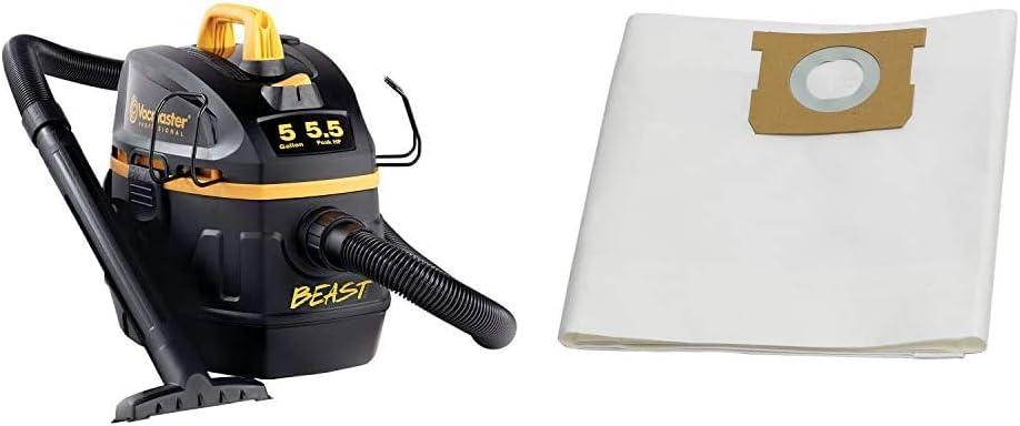 "Vacmaster Professional - Professional Wet/Dry Vac, 5 Gallon, Beast Series, 5.5 HP 1-7/8"" Hose Jobsite Vac (VFB511B0201), Black & 5-6 Gallon Standard Dust Bag, 3 Pack, VDBS"
