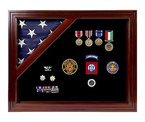 Military Award Shadow Box with Display Case for 3 x 5ft Flag - Felt in Black, Blue, or Red (Black Selected) by Freedom Display Cases