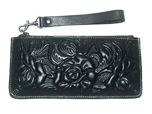 - Patricia Nash Women's Tooled SLG Carry All Black Clutch Wristlet Purse Bag