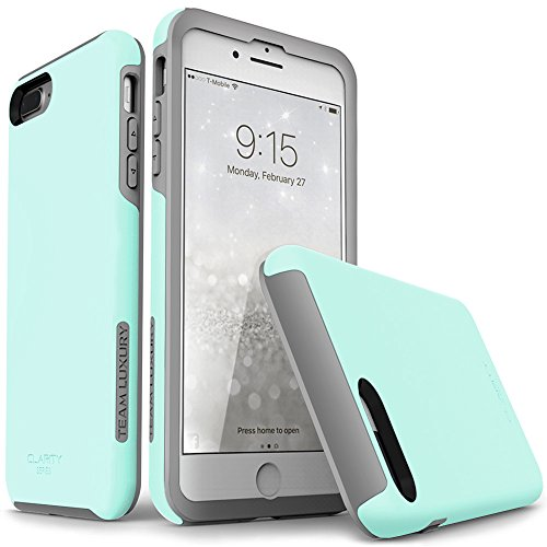 iPhone 7 Plus case, iPhone 8 Plus case, TEAM LUXURY [Clarity Series] Updated [G-II] MINT Ultra Defender TPU + PC Shock Absorbent Protective Case - for Apple iPhone 7 Plus & 8 Plus (Soft Mint/ (Team Drop)
