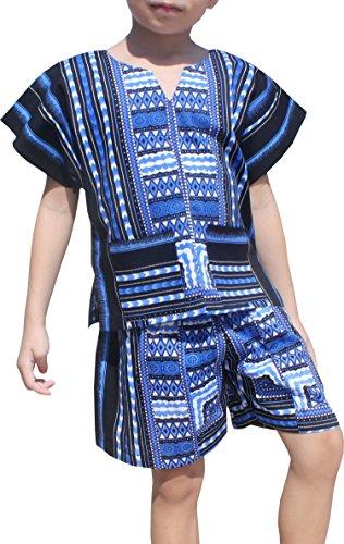 033be9fc67e Raan Pah Muang Childrens Unisex Afrikan Dashiki Shirt and Shorts Set Patch  Cotton
