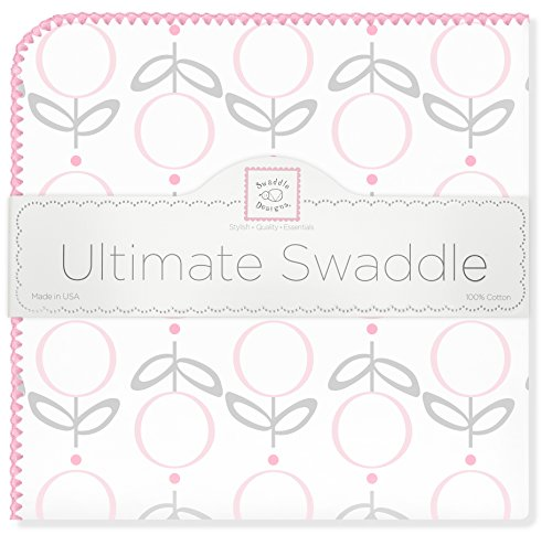 SwaddleDesigns Ultimate Swaddle, X-Large Receiving Blanket, Made in USA Premium Cotton Flannel, Pink Lolli Fleur (Mom's Choice Award Winner)