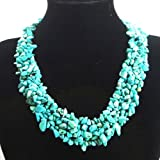 Fashionable Turquoise Chip Necklace 17.5 Inch