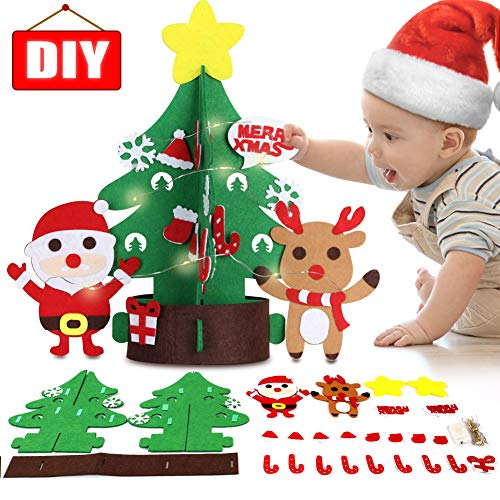 DIY Felt Christmas Tree Xmas Ornaments Decoration Set Craft Activities Kits Decor Toy Gift for Kids Toddler