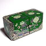 Mother of Pearl Flower Green Lacquer Wood Asian Jewelry Trinket Keepsake Treasure Gift Box Ring Case Chest