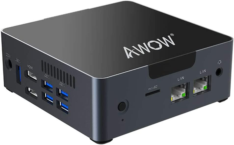 Mini PC AWOW Desktop Computer Windows 10 Intel Celeron N3450 /6GB DDR4 256GB SSD/Dual LAN/ 2.4G+5G Dual Band WiFi/4K HD/Bluetooth/HDMI