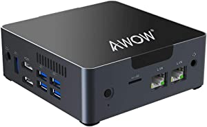 Mini PC AWOW Desktop Computer Windows 10 Intel Celeron N3450 /6GB DDR4 256GB SSD/Dual LAN/ 2.4G+5G Dual Band WiFi/4K HD/Bluetooth/HDMI