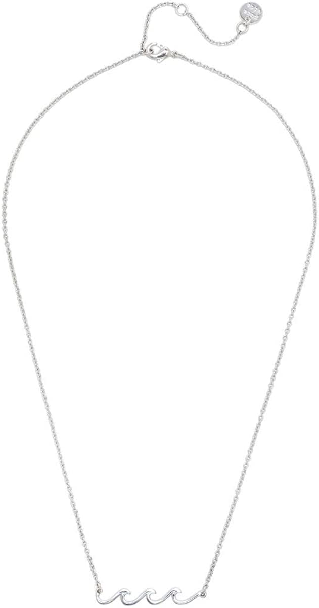 Pura Vida Silver or Rose Gold-Plated Delicate Wave Necklace, Brass Base - 18 Inches