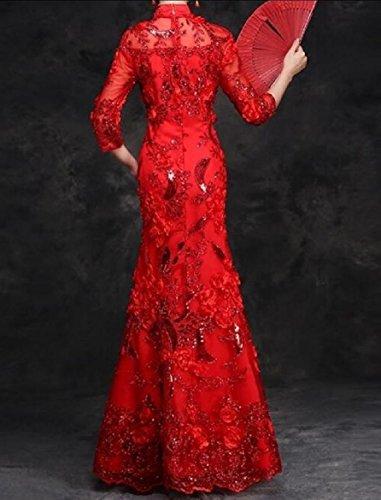 Coolred-femmes Paillettes Sequin Sirène Cintrée Longueur Robe Rouge Cheongsam