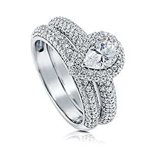 BERRICLE Rhodium Plated Sterling Silver Pear Cut Cubic Zirconia CZ Halo Engagement Ring Set Size 9
