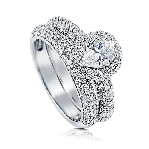 BERRICLE Rhodium Plated Sterling Silver Pear Cut Cubic Zirconia CZ Halo Engagement Wedding Ring Set 1.55 CTW Size 10