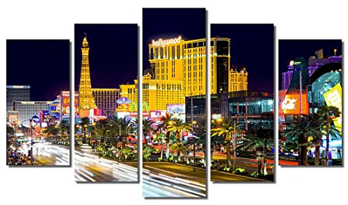 Picture Sensations Framed 5-Panel Canvas Art Print, Las Vegas Strip Casino Downtown City Skyline-60, 5 Panel-60 X36