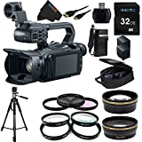 Canon XA20 Professional Camcorder - 8453B002 + Pixi-Essential Accessory Bundle - Features: 32GB High Class Memory Card + 72 inch Heavy Duty Tripod + (2) Replacement Battery & Charger + 9 Attachment Lenses + Deluxe Rugged Camcorder Case