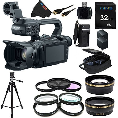 Canon XA20 Professional Camcorder - 8453B002 + Pixi-Essential Accessory Bundle - Features: 32GB High Class Memory Card + 72 inch Heavy Duty Tripod + (2) Replacement Battery & Charger + 9 Attachment Lenses + Deluxe Rugged Camcorder Case by Pixibytes