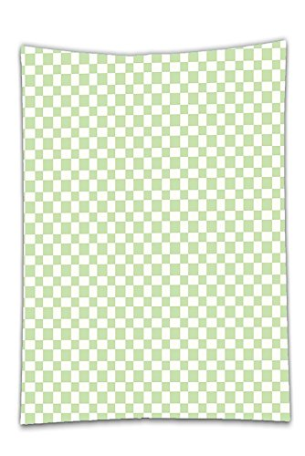 Green Monochrome Resin (Interestlee Satin drill Tablecloth?Geometric Big Squares Checked Pattern in Soft Colors Retro Monochrome Tile Print Lime Green White Dining Room Kitchen Rectangular Table Cover Home Decor)