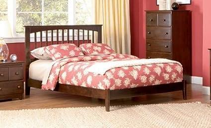 Atlantic Furniture Brooklyn Platform Bed with Open Footrail in Antique  Walnut - Queen - Amazon.com: Atlantic Furniture Brooklyn Platform Bed With Open