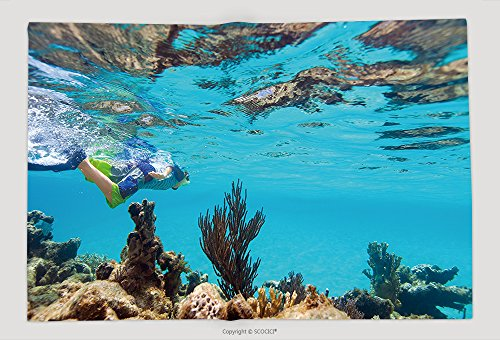Supersoft Fleece Throw Blanket Teenage Boy Swimming Underwater In Shallow Turquoise Water At Coral Reef 234558679 by vanfan