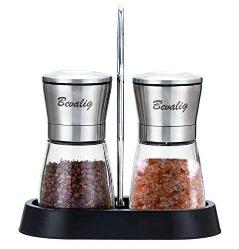 Salt and Pepper Grinder Set with BONUS Stand - Adjustable Coarseness Spice Grinder Mill Shaker - THIS WEEK ONLY DEAL-LIMITED QUANTITY SALE-12.95
