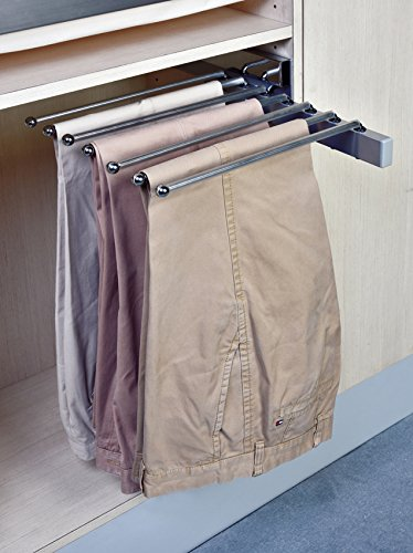 Pants Rack Pant Hanger, Slide Out Side Mount Satin Nickel, For 15
