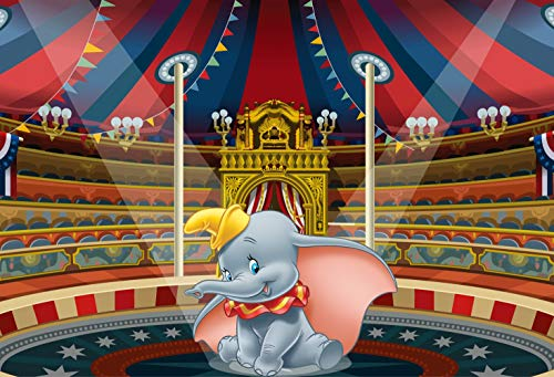 ERIC 7x5ft Dumbo Themed Photo Backdrop Circus Carnival Tent Elephant Photography Background Kids Birthday Newborn Baby Shower Cake Dessert Table Decoration Banner & Room Mural LF135