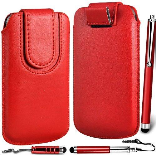 N4U Online - Apple Iphone 5C premium en cuir PU Tirez cas de secousse Tab Housse Etui avec sangle fermeture magnétique et Triple Pack stylet - Rouge